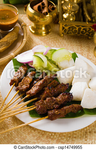 food, indonesian, malaysia, dish, indonesia, sate, meat, isolate - csp14749955