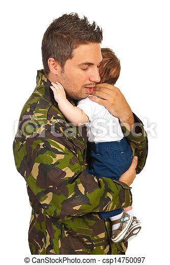 Military dad hugging his newborn baby - csp14750097