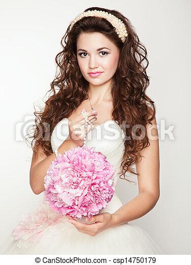 Portrait of beautiful bride. Wedding dress.  - csp14750179