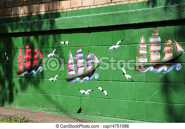 Detail of graffiti painted illegally on public wall - csp14751096