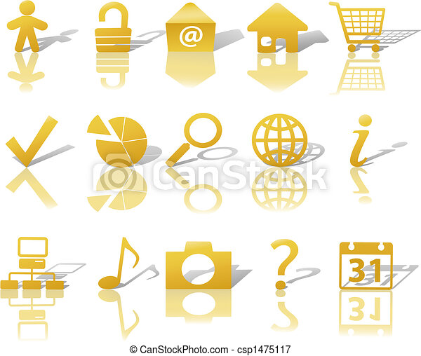 Web Gold Icons Set Shadows & Relections on White 1 - csp1475117