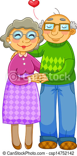 EPS Vector of old couple - loving old couple hugging ...