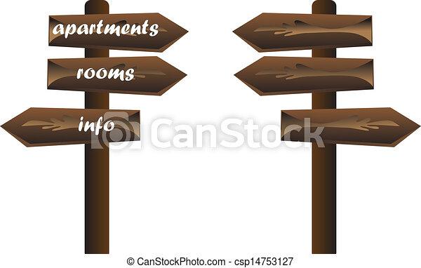 wooden tourist sign info - csp14753127