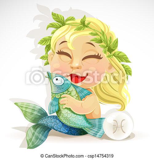 bébé, zodiaque, -, signe, poissons - csp14754319