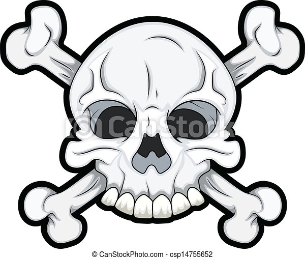 Clipart Vector of Skull with Crossbones - Drawing Art of Danger ...