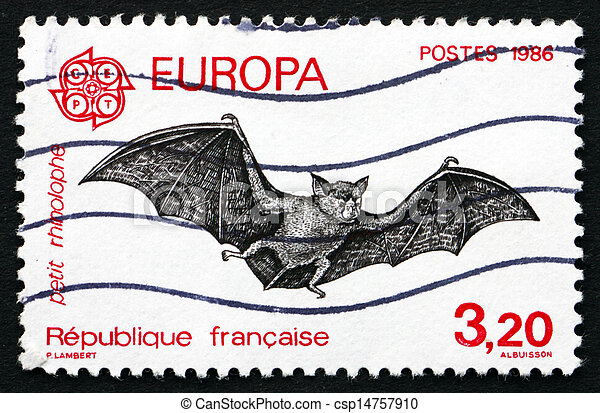 Postage stamp France 1986 Bat, Chiroptera, Flying Mammal - csp14757910
