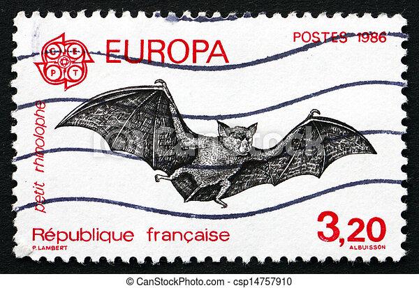 Postage stamp France 1986 Bat, Chiroptera, Flying Mammal - csp14757910