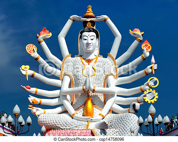 Thailand landmark in koh Samui, Shiva sculpture and Buddhist tample - csp14758096