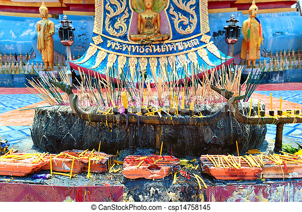 Abstract and colorful religion Buddhist altar in traditional temple in Thailand - csp14758145