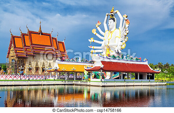 Thailand landmark in koh Samui, Shiva sculpture and Buddhist tample - csp14758166