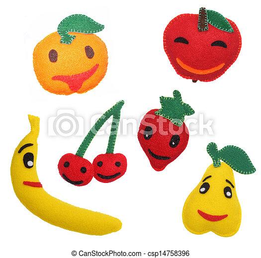 brinquedos, feltro, frutas - csp14758396