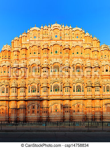 Hawa Mahal Palace in India, Rajasthan, Jaipur. Palace of Winds famous landmark - csp14758834