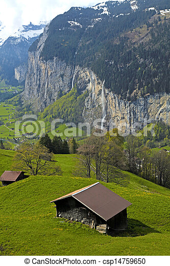 mountain village in the Alps, Switzerland . - csp14759650