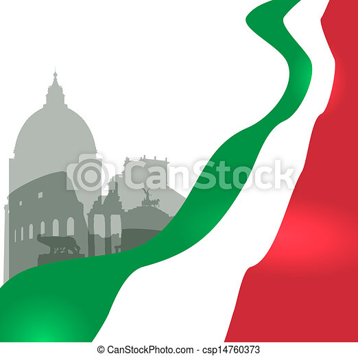 Rome vector illustration with Italian flag - csp14760373