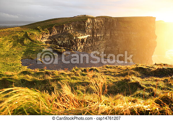 Cliffs of Moher at sunset in Co. Clare, Ireland - csp14761207