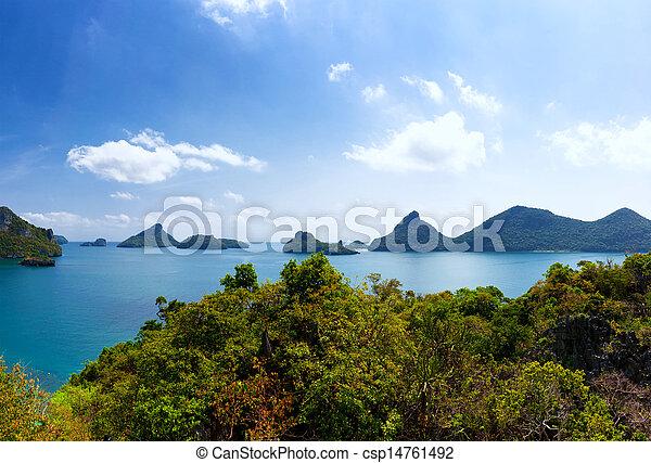 Tropical island nature, Thailand sea archipelago aerial panoramic view. Ang Thong National Marine Park near ko Samui - csp14761492