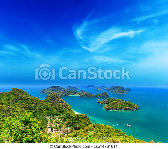 Tropical island nature, Thailand sea archipelago aerial panoramic view. Ang Thong National Marine Park near ko Samui - csp14761611