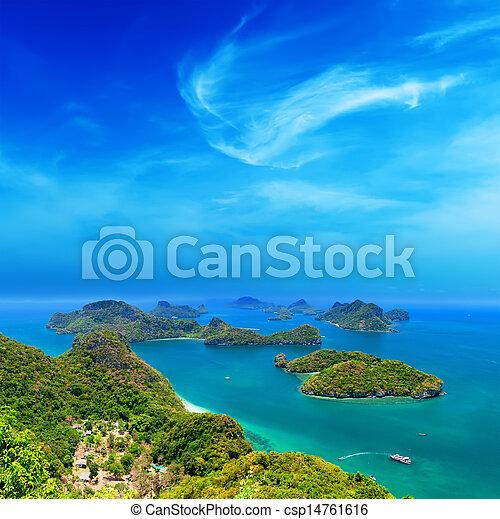 Tropical island nature, Thailand sea archipelago aerial panoramic view. Ang Thong National Marine Park near ko Samui - csp14761616