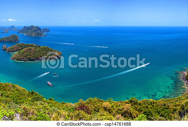 Tropical island nature, Thailand sea archipelago aerial panoramic view. Ang Thong National Marine Park near ko Samui - csp14761688