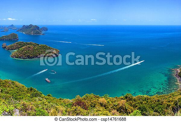 Tropical island nature, Thailand sea archipelago aerial panoramic view. Ang Thong National Marine Park near ko Samui - csp14761688