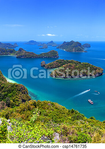 Tropical island nature, Thailand sea archipelago aerial panoramic view. Ang Thong National Marine Park near ko Samui - csp14761735