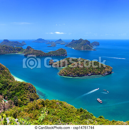 Tropical island nature, Thailand sea archipelago aerial panoramic view. Ang Thong National Marine Park near ko Samui - csp14761744