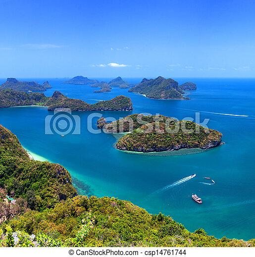 Tropical island nature, Thailand sea archipelago aerial panoramic view. Ang Thong National Marine Park near ko Samui - csp14761744