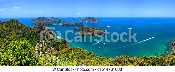 Tropical island nature, Thailand sea archipelago aerial panoramic view. Ang Thong National Marine Park near ko Samui - csp14761808