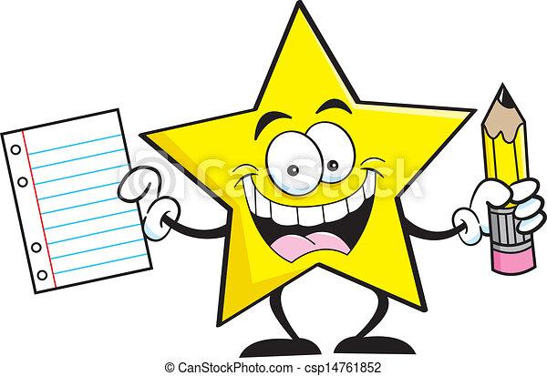 Star Cartoon Drawing Cartoon Star Holding a Pencil