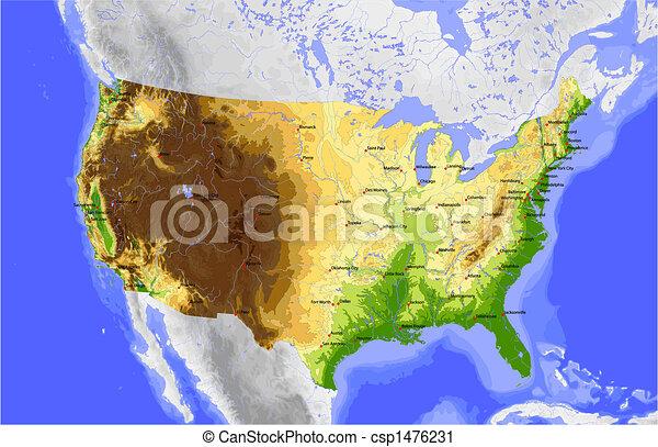 USA, physical vector map - csp1476231