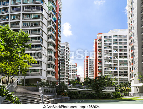 Orange color residential apartments - csp14762624
