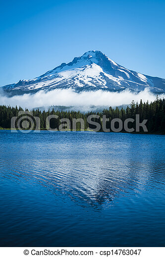 Mt. Hood, mountain lake, Oregon - csp14763047
