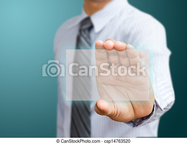 Human hand holding business card - csp14763520