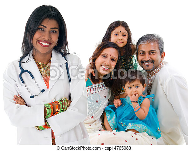 Indian female medical doctor and patient family. - csp14765083