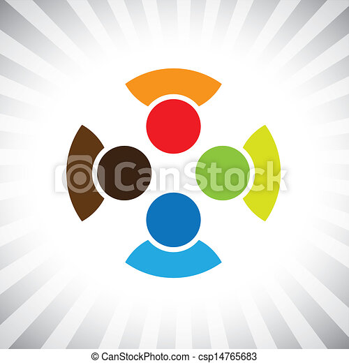 community of buddies, pals & friends get-together- vector graphic. This illustration can also represent children playing,kids having fun,employee meeting,workers unity & diversity, people community - csp14765683