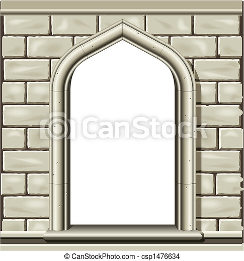 Arched window, stone - csp1476634