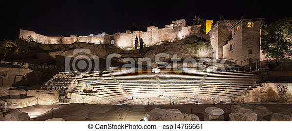 Malaga landmarks on night. Roman theater and Alcazaba. Andalusia, Spain - csp14766661