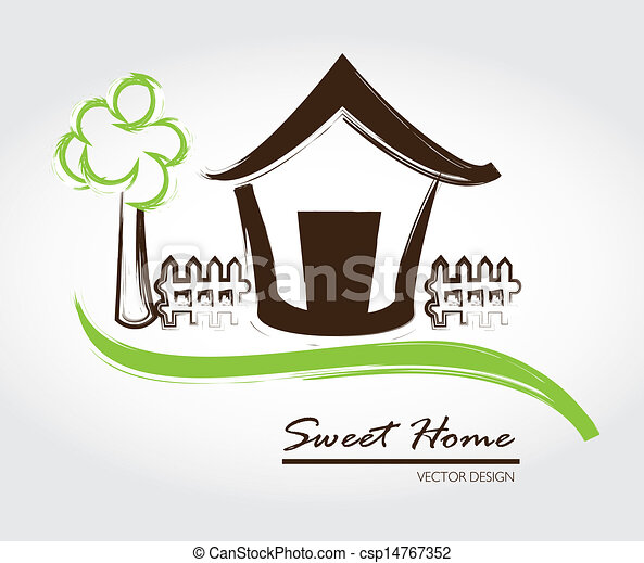 Clipart vector of sweet home over gray background vector for Sweet home 3d italiano