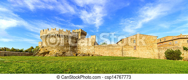 Populonia medieval village landmark, city walls and tower. Tuscany, Italy. - csp14767773