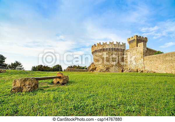 Populonia medieval village landmark, bench, city walls and tower. Tuscany, Italy. - csp14767880