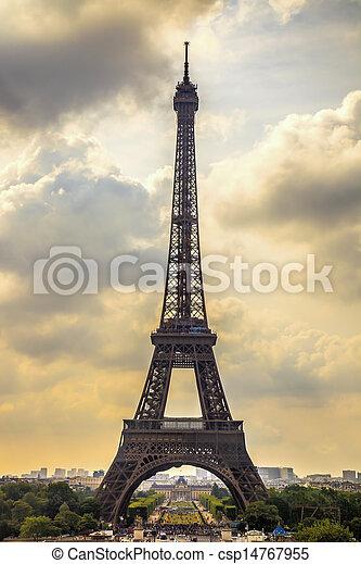 Eiffel Tower landmark, view from Trocadero. Paris, France. - csp14767955