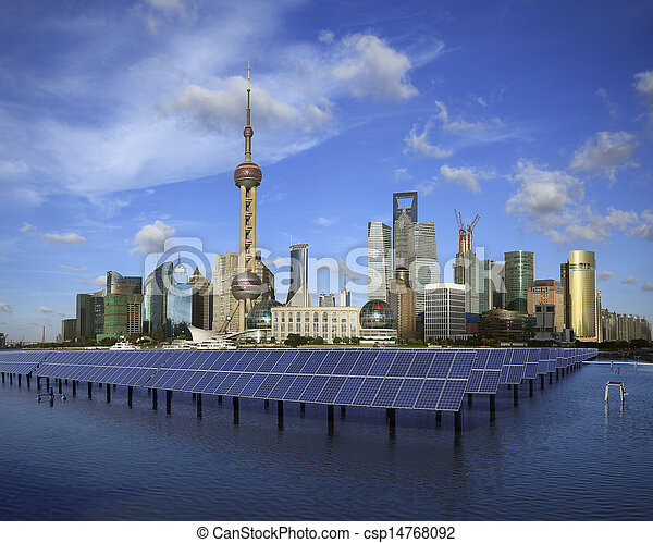 Shanghai Bund skyline landmark at Ecological energy Solar panel - csp14768092