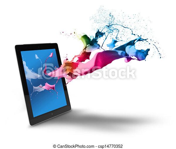 Tablet computer color splash - csp14770352
