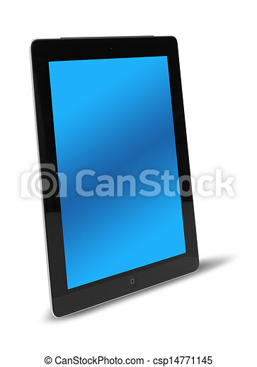 Tablet computer side view isolated - csp14771145
