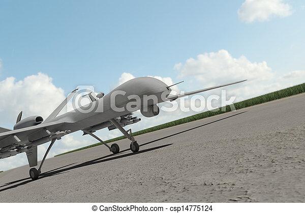 Military combat drone on ground - csp14775124