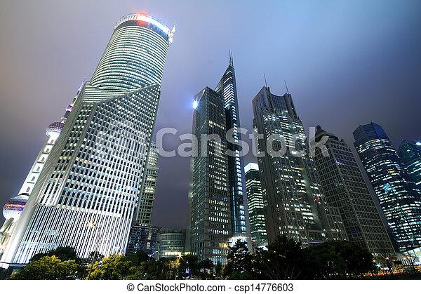 Look up to Shanghai city landmark buildings background night - csp14776603