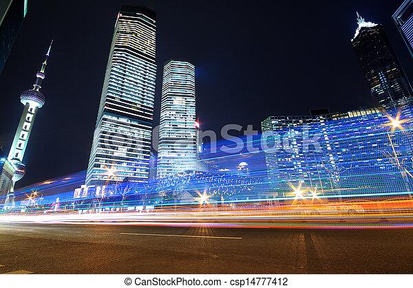 Shanghai modern landmark buildings background car night rainbow ray light trails  - csp14777412