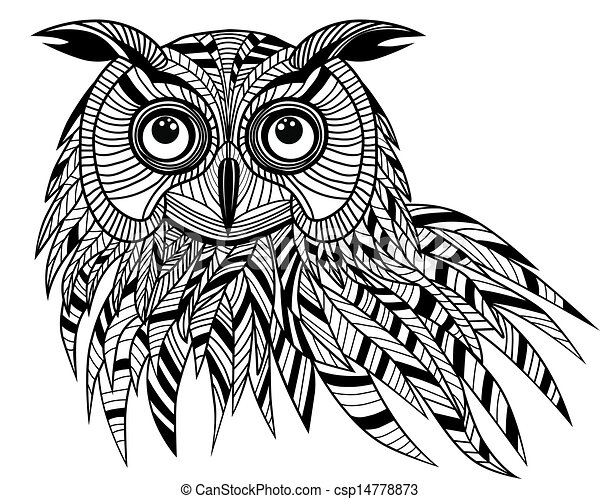 Owl bird head as halloween symbol for mascot or emblem design, logo vector illustration for t-shirt. Sketch tattoo design. - csp14778873
