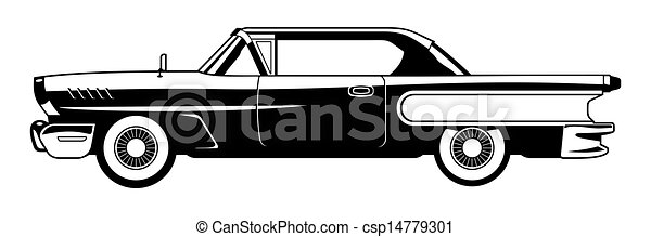Stock Illustration Of Classic Cars Black And White
