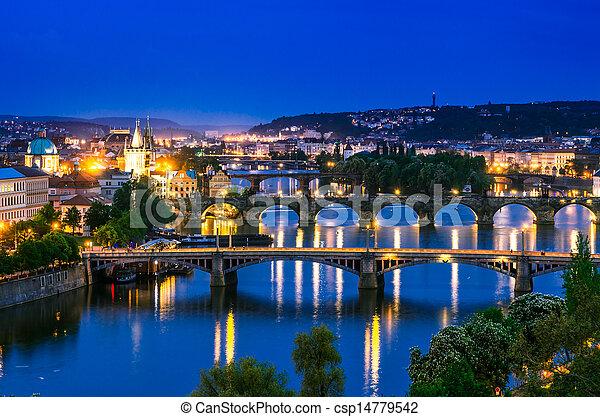 View over the Vltava river and bridges in Prague - csp14779542
